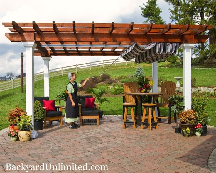 10'x14' Wood Artisan Pergola with Canyon Brown Stain and Retractable EZShade Canopy Amish made and available in California from Backyard Unlimited http://www.backyardunlimited.com/pergolas.php