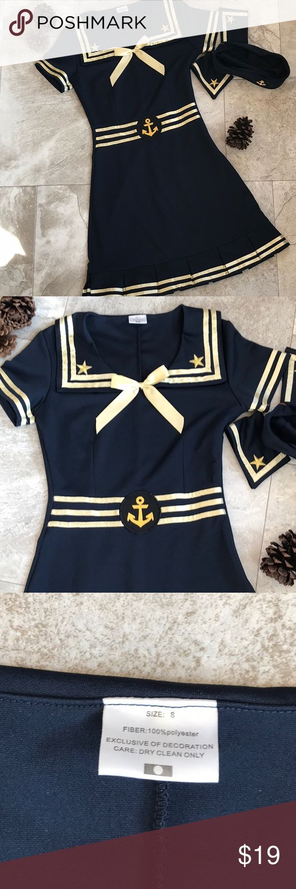 🍂Sailor Halloween Outfit -S🍂 Sailor outfit, size Small. Worn once (but does have small flaws) comes with hat and 2 wrist bands, no stains or holes, smoke free home! Other