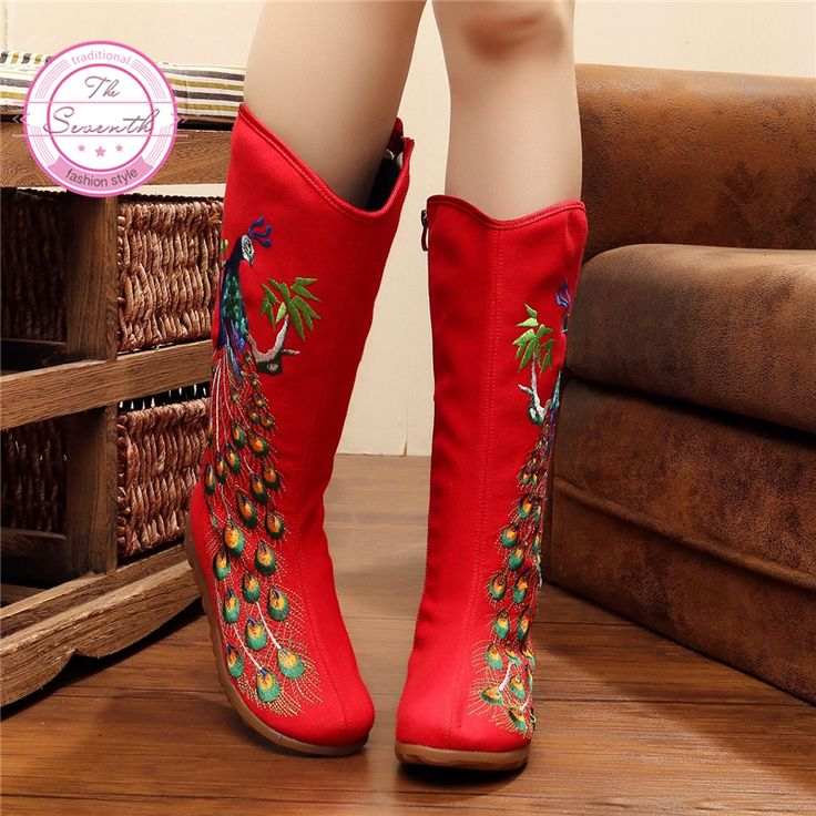 Find More Mid-Calf Boots Information about Peacock High Boots 2016 Autumn New Canvas Sequin Embroidery Women Boots Single Boots,High Quality boot shorts,China boot converse Suppliers, Cheap boots male from The Seventh Cloth Shoes Store on Aliexpress.com