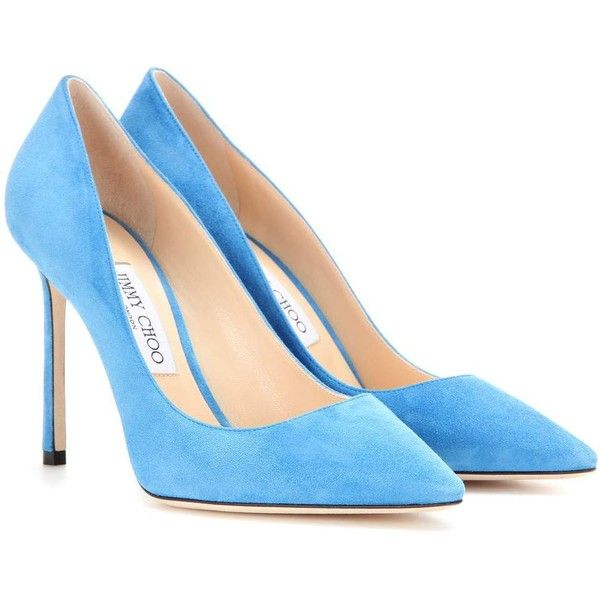 Jimmy Choo Romy 100 Suede Pumps ($535) ❤ liked on Polyvore featuring shoes, pumps, heels, scarpe, blue, suede leather shoes, heel pump, jimmy choo shoes, blue shoes and suede shoes