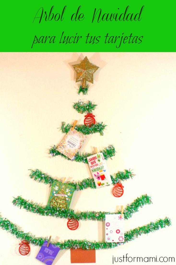 Arbol de Navidad para colgar tarjetas #HallmarkTradiciones #ad  #arboldenavidad #tinsel #tarjetas