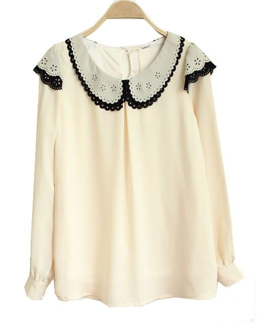 Premium Chiffon Blouse with Contrast Collar Details
