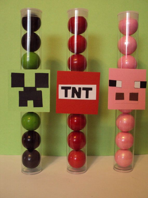 12  Filled Original Minecraft Character Inspired Gumball Tubes with  Creeper, TNT, Pink Pig , Chicken, Herobrine,  Ederman & Wolf Logo  Tags...