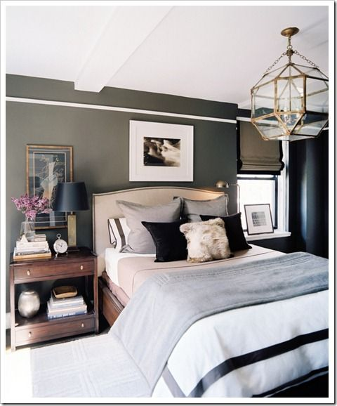 Morris Hanging Lantern by Suzanne Kasler Lonny Magazine June July 2012: Wall Colors, Decor, Ideas, Lights Fixtures, Bedrooms Design, Masculine Bedrooms, Master Bedrooms, House, Dark Wall