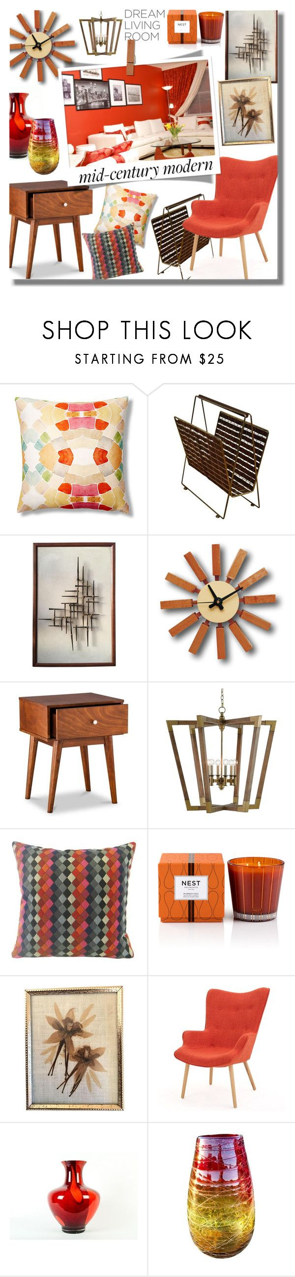 """#377 ~ Clean Spaces: Mid-Century Modern"" by cresentia-titi ❤ liked on Polyvore featuring interior, interiors, interior design, home, home decor, interior decorating, bunglo by shay spaniola, Foremost, Nest Fragrances and Franklin"
