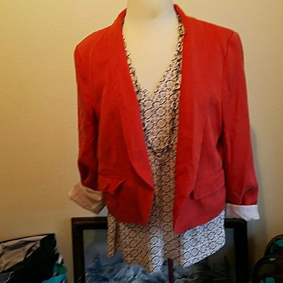 Loft coral jacket Hard to get the color in a picture.  Sort of a dusky coral.  Contrast striped lining. no closure. LOFT Jackets & Coats Blazers