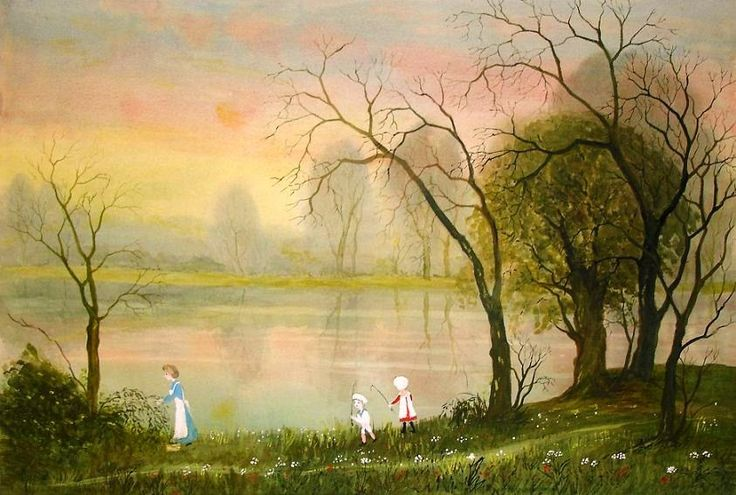 Helen Bradley British Artist (1900-1979), Alice Took George and Me Down the River