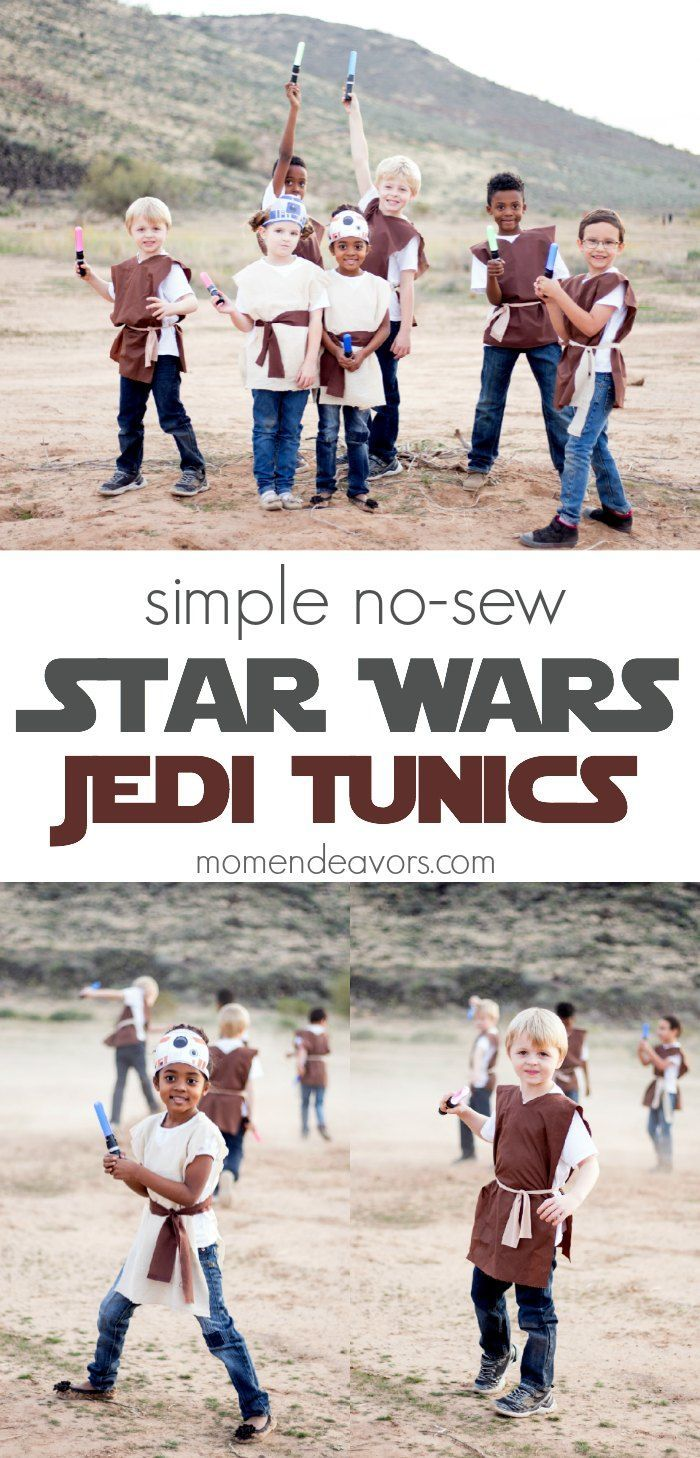 Simple no-sew Star Wars Jedi tunic costumes - perfect for a Star Wars party or simple dress-up!