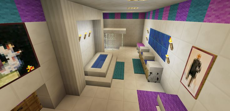 Minecraft bathroom pink girl wallpaper wall design shower for Bathroom ideas minecraft