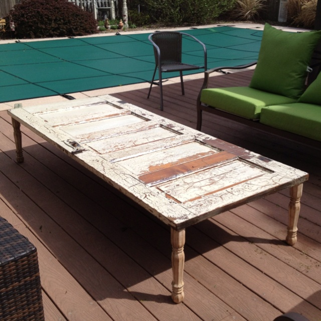 Coffee table I made for the deck using an old door.