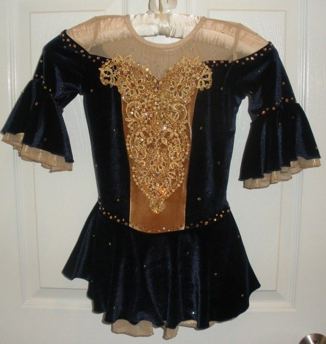 Black and gold figure ice skating dress.