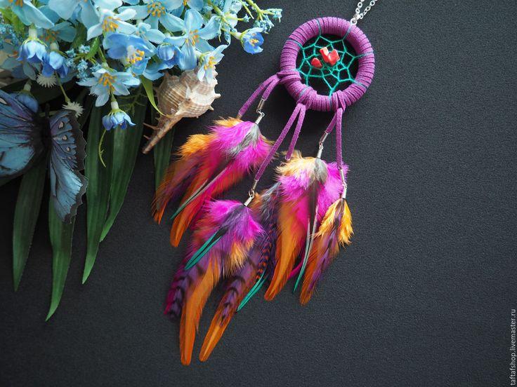 Летний закат - фиолетовый кулон ловец снов с перьями в стиле бохо - перья, перо