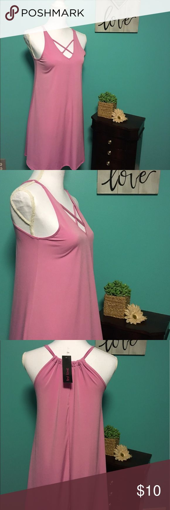 NWT pink flowy summer dress Brand new, never worn flowy pink dress. Cross front. Very light weight, perfect for hot summer days. Bought to wear on vacation but never made it out of my suitcase. Dresses