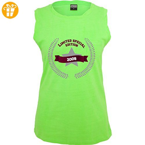 Geburtstag - 2008 Limited Special Edition - XS - Neon Grün - TB702 - ärmelloses Damen T-Shirt mit Brusttasche (*Partner-Link)
