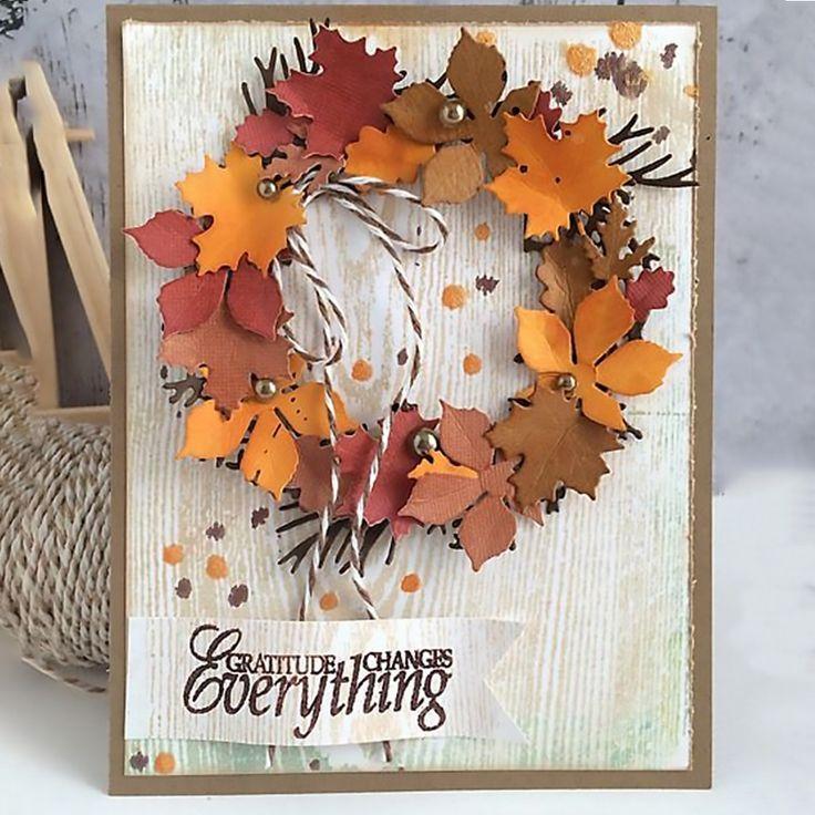 Рождения, открытки своими руками с листьями