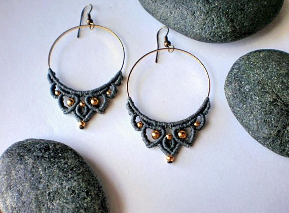 Gray hoop earrings macrame Handmade Yoga jewelry gift for