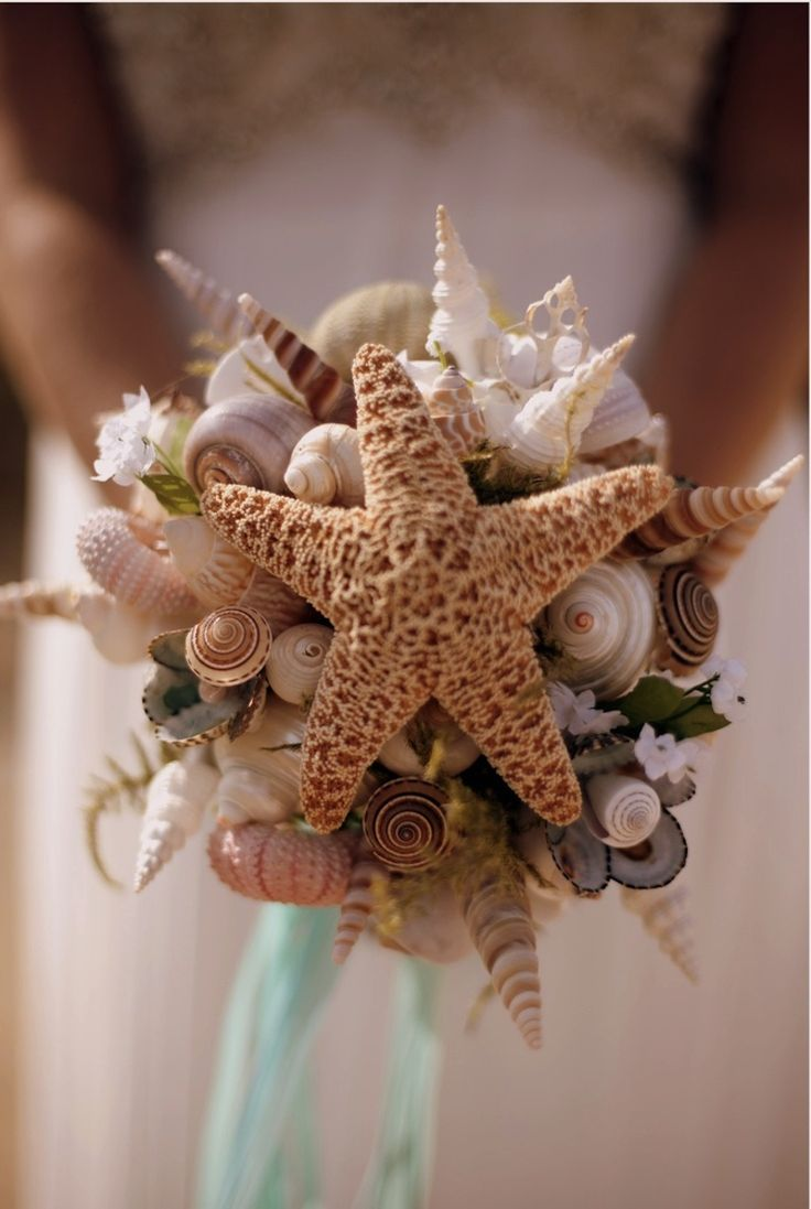 Collect seashells to make this DIY wedding bouquet that's perfect for your beach nuptials.