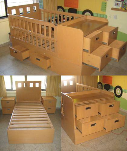 cuna -cama modular con posibilidad de adaptarse a las diferentes edades de los niños