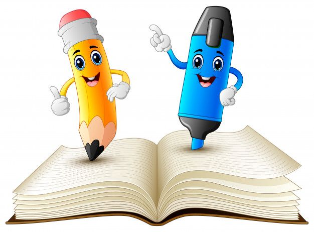 Pencil And Highlighter Cartoon Standing On Book Premium