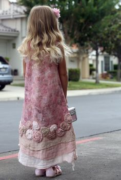 Pink feted dress for a little girl with roses lace and by GBDesign