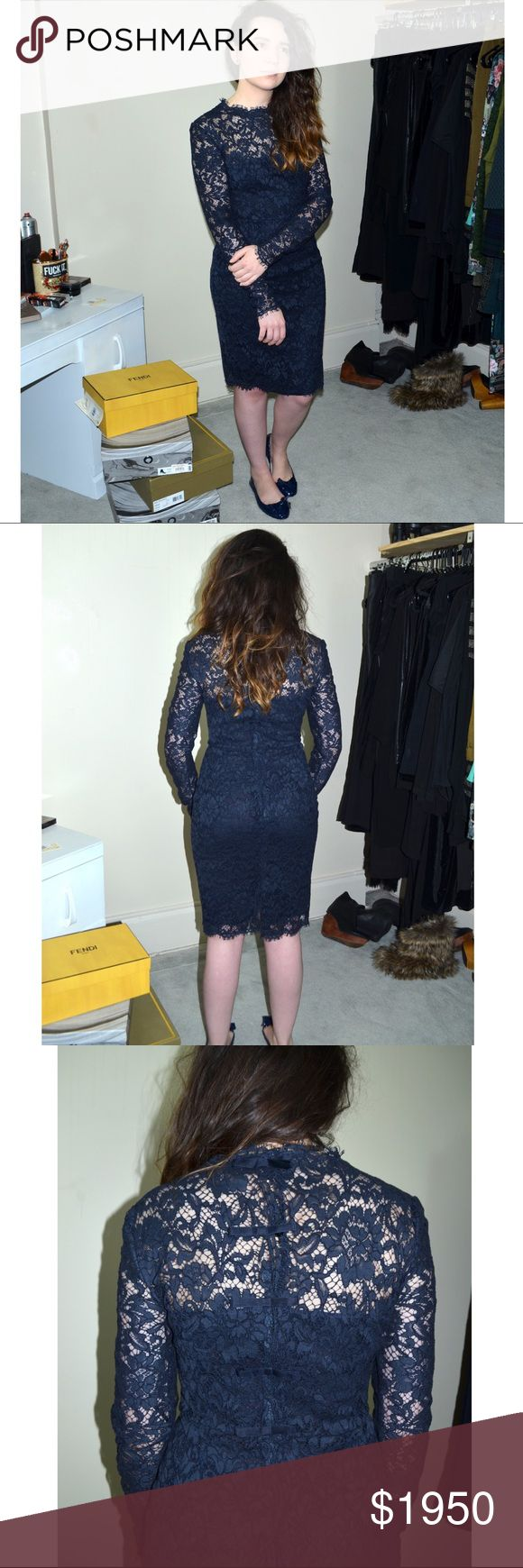 Valentino Dress 👗 Long sleeve.  Navy.  Cocktail Dress.  Lace.  New with Tags.  Perfect for afternoon tea ☕️ & Vespa 🛵 rides.   All offers considered.  Best price via email or 🅿️🅿️ Valentino Dresses Long Sleeve