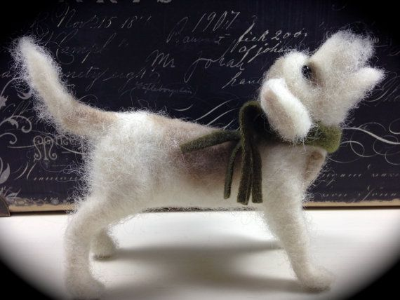 Needle Felted Wire Haired Terrier  Mutt Rocket by Creativewhimsee