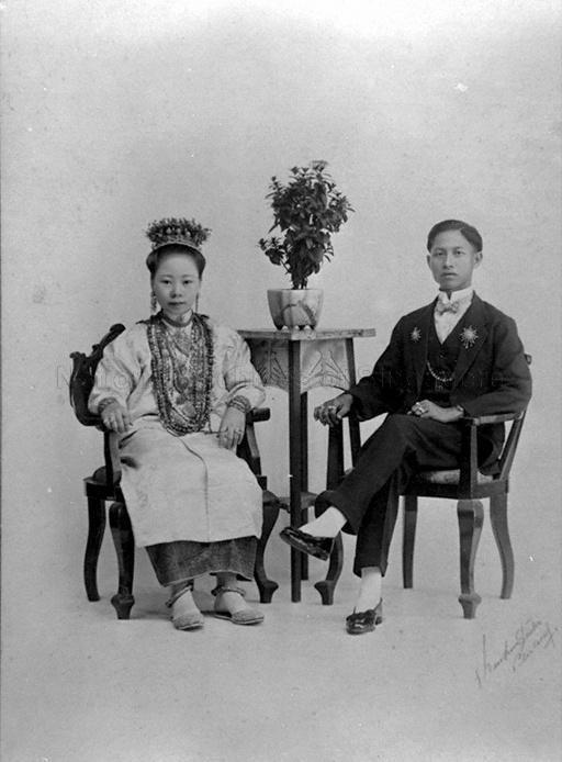 STUDIO PORTRAIT OF A PERANAKAN COUPLE, KEE CHUN STUDIO, …