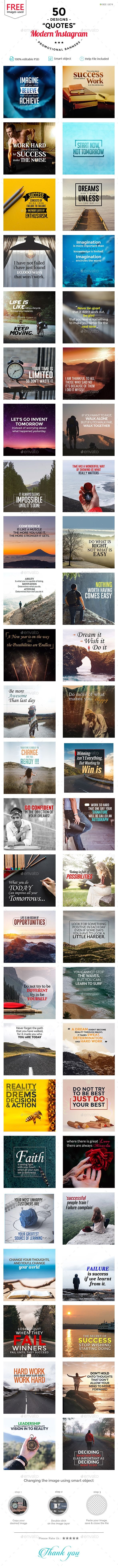 50 Awesome Quality Instagram Banner Template PSD #ads #promotion