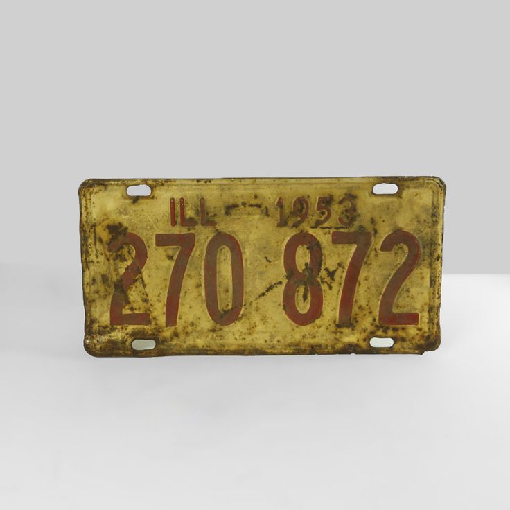 1953 Authentic Vintage Illinois Metal Car License Plate - FOR SALE! Authentic vintage 1953 Illinois old metal automobile car license plate sign. 11-1/4 x 5-5/8. Wall art for man cave or nice display item. Buy Now!