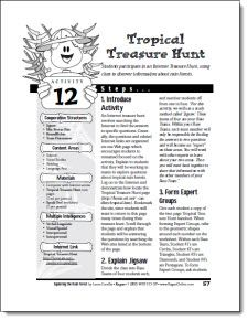 Tropical Treasure Hunt freebie - Sample lesson from Laura Candler's book Exploring the Tropical Rain Forest - Students work in cooperative learning teams to conduct online research about tropical rain forest issues