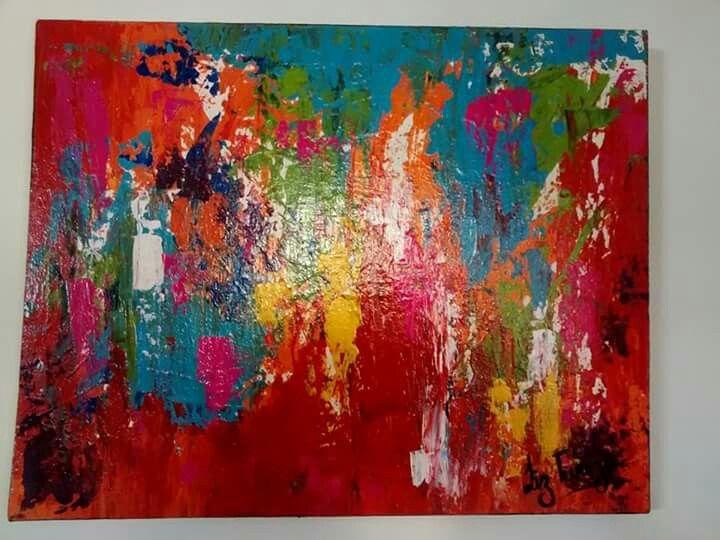 Cuadro abstracto con espátula.