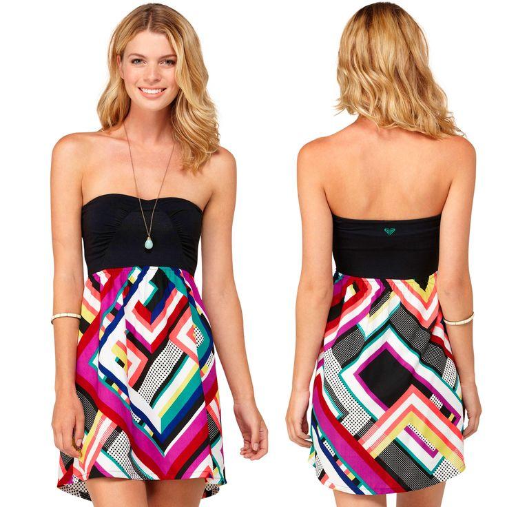 Roxy Savage 2 Juniors Strapless Dress - Geo Print