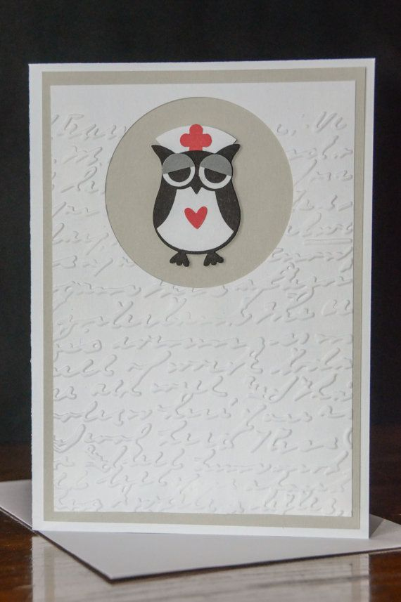 Handmade Stampin' Up Nurse Owl Builder Punch Get Well Soon Card with matching premium envelope on Etsy