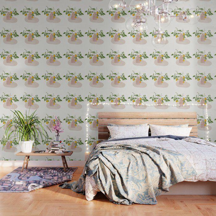 Lemon Branches Wallpaper By City Art 2 X 8 In 2020 White Wallpaper Peel And Stick Wallpaper Wallpaper