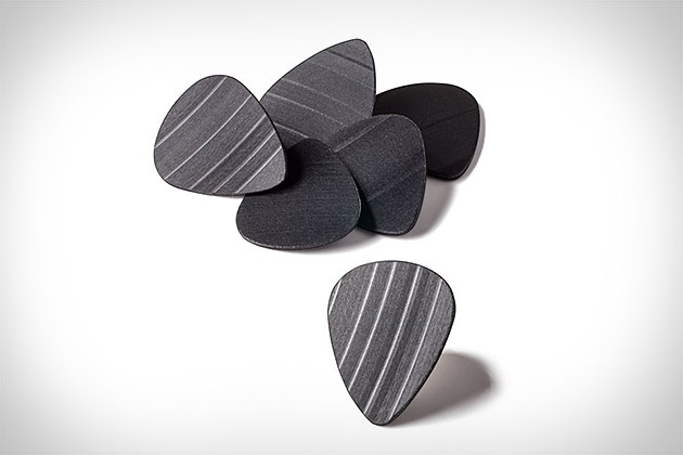 Guitar picks recycled from old vinyl records.