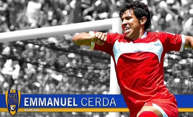Emmanuel Cerda se desempeña como Delantero, posición en la cual aportará su calidad y experiencia para la causa potosina.    Nació el 27 de Enero de 1987 en San Luis Potosí, San Luis Potosí.     Durante su carrera ha participado en los clubes Tigres de la UANL y Toluca.