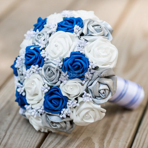 Royal Blue Wedding Bouquet Royal Blue And Silver Bouquet