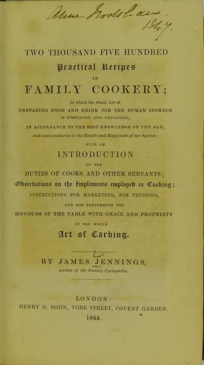 Two Thousand Five Hundred Practical Recipes In Family Cookery By James Jennings … – Classic Vintage Lady