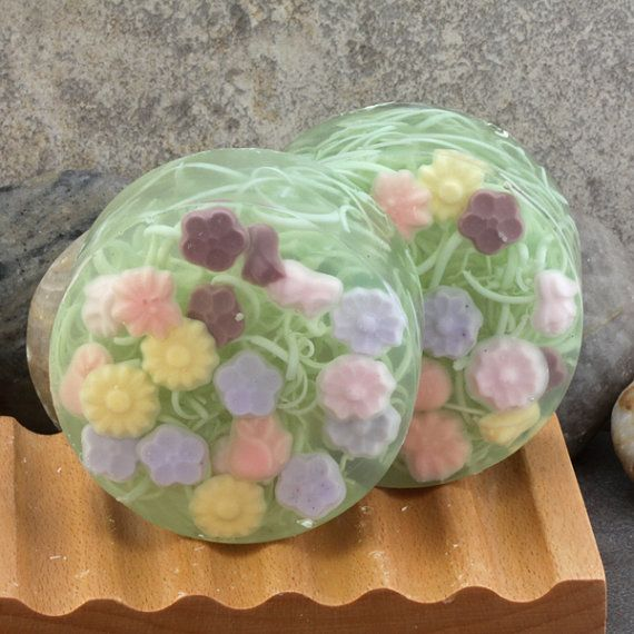 Floral Garden Handmade Glycerin Soap Bar by AlaiynaBSoaps on Etsy