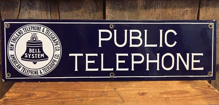 Vintage New England Telephone Telegraph Co. Public Telephone Porcelain Sign EX | eBay