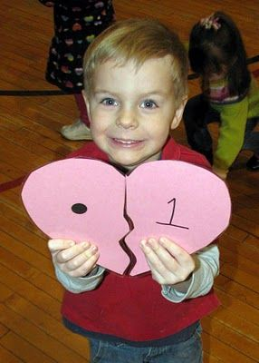 """Party Game or classroom """"game"""" -- find you matching heart half (can also be done with compound words, math facts, Capital/lower case letters, etc.)"""