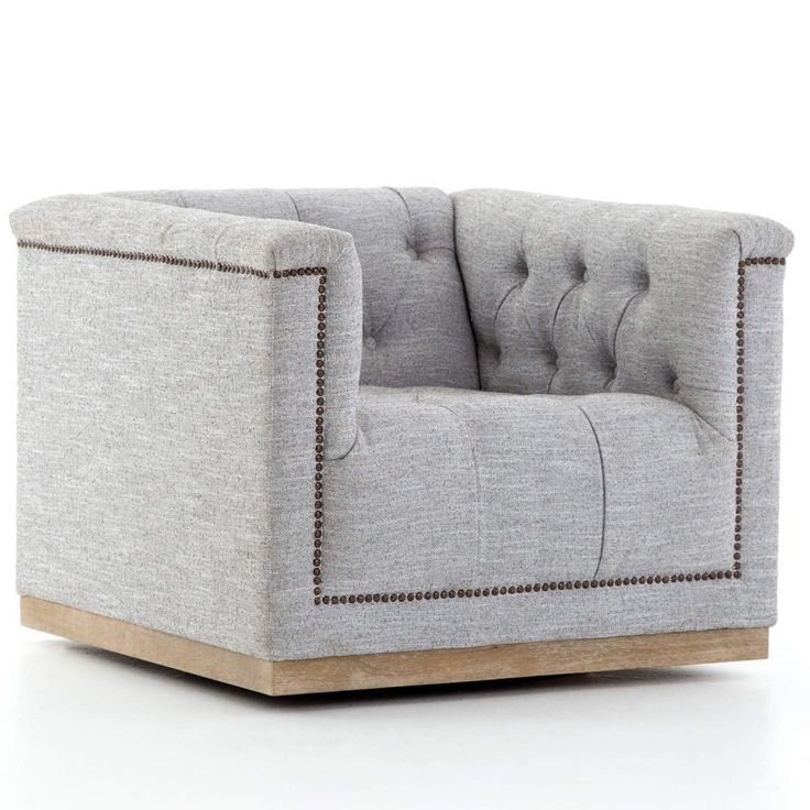 Maxx Grey Fabric Upholstered Tufted Swivel Club Chair