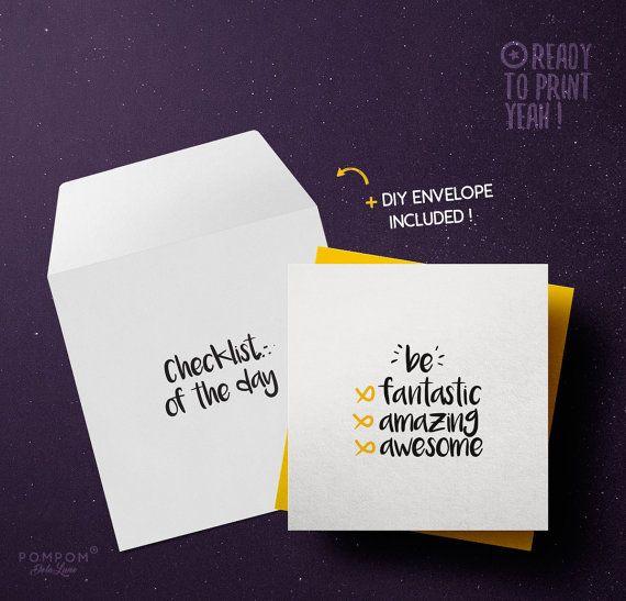 Carte anniversaire À IMPRIMER Checklist of the day Citation Motivation Carte de voeux Téléchargement instantané noir et jaune enveloppe DIY