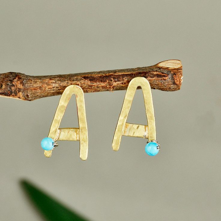 Hammered A studs, Gold tone A studs, turquoise A studs, sphere turquoise A studs, handmade letter A, Monogram jewelry, small A studs by ColorLatinoJewelry on Etsy
