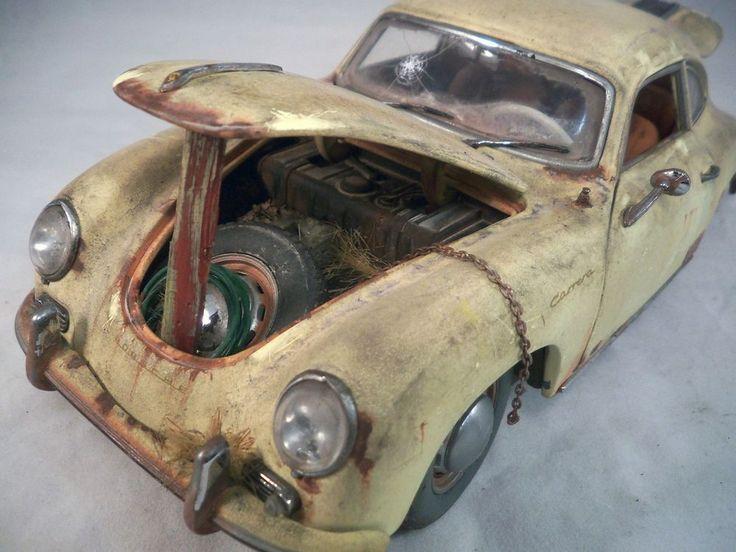 1956 Porsche 356 A Coupe Barn Find Custom Weathered Unrestored SunStar 1 18