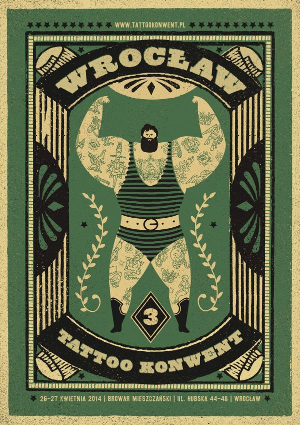 wrocław tattoo konwent | promo posters by Dawid Ryski, via Behance
