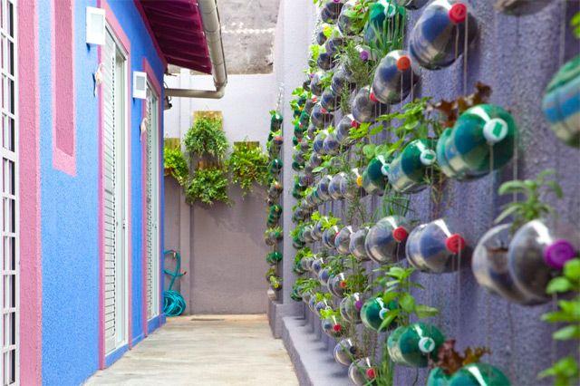 Un'altra vista del giardino verticale di bottiglie