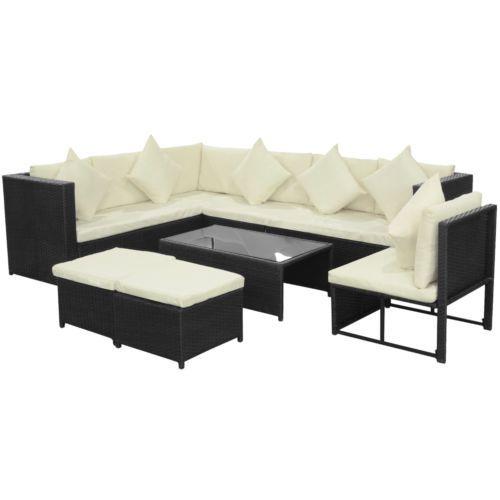 vidaXL Patio Wicker Rattan Garden Set Outdoor Lounge Sofa Couch Furniture Black