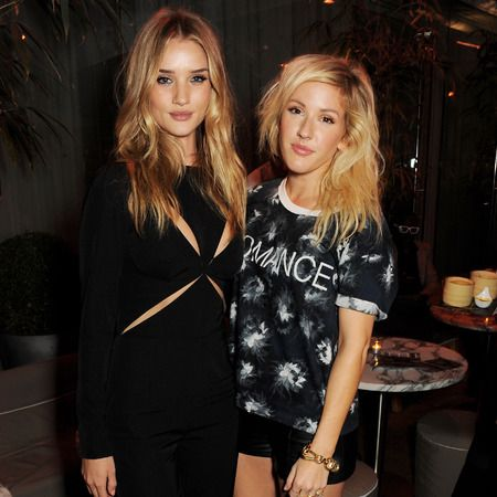 Rosie Huntington-Whiteley cosies up to Ellie Goulding at ELLE fashion week party