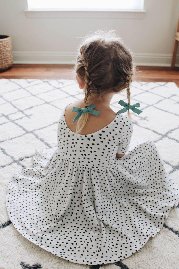 Scoop neck dot dress for girls